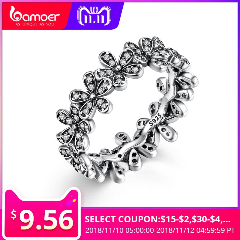 7aa6903f6 2019 BAMOER 925 Sterling Silver Flowers Finger Rings Dazzling Daisy Meadow  Stackable Ring, Clear CZ For Women Wedding Jewelry PA7122 C18110801 From  Xiao0003 ...