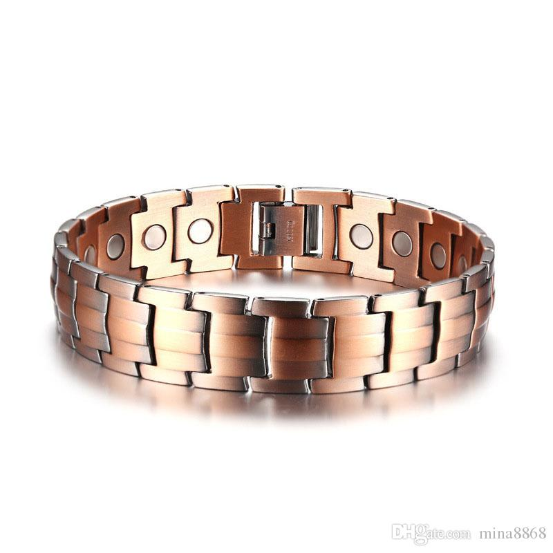 8f9f8e74256d1 New Fashion Luxury Red Pure Copper Bracelet Link Chain Energy Health  Magnetic Bracelet for Men Gift Jewelry High Quality Accessories