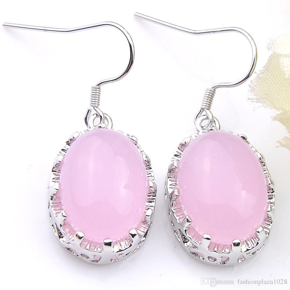 Jewelry Fashion Crystal Zircon 925 Sterling Silver Pink Oval Women ...