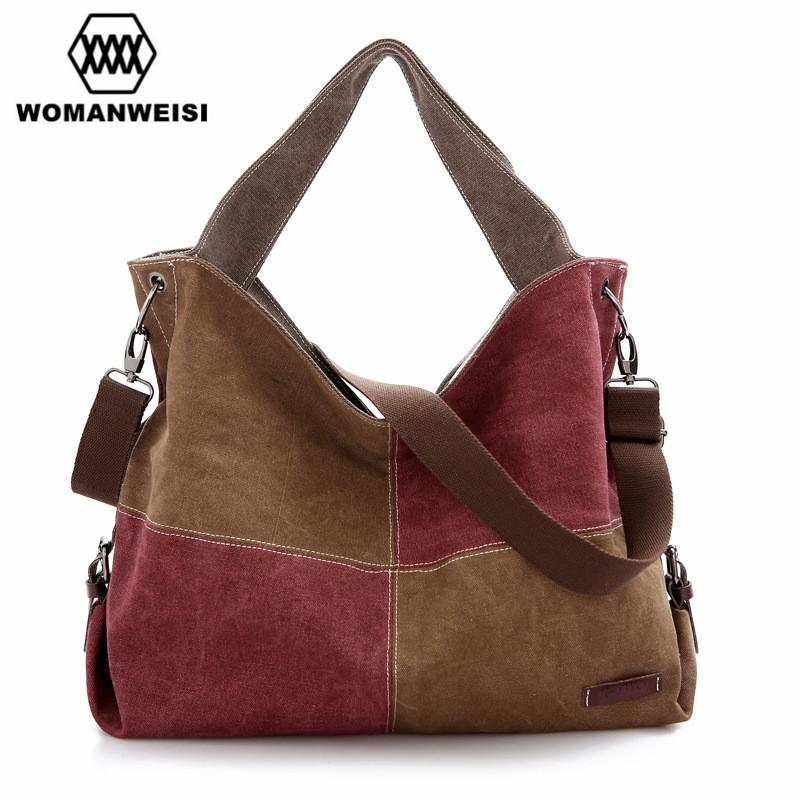 93523c3d68fa WOMANWEISI Brand Women Messenger Bags Casual Canvas Large Tote Bags ...