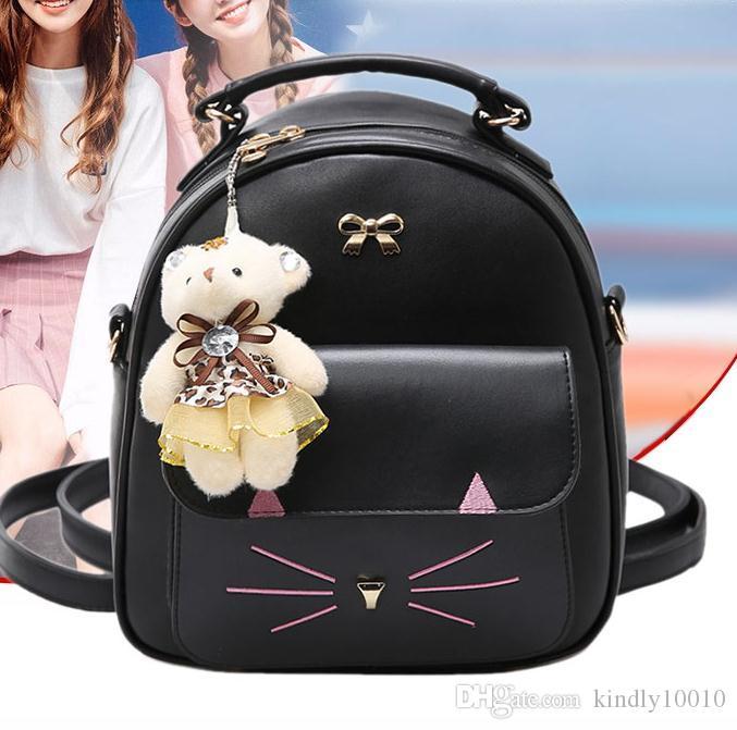 7843f9752348 PU Leather Small Cat Backpack Women Back Pack Bag Mini Backpack Teenage  Student School Rucksack Shoulder Bag SIZE 23 10 26 CM Rucksack Jansport  Backpacks ...