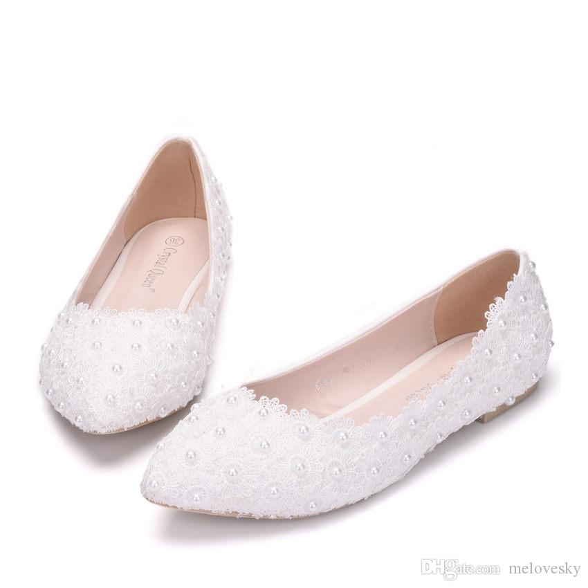 New Beautiful White Women Flats Lace Flowers Pointed Toe Flat Pearls  Wedding Shoes Plus Size Wedding Shoes Flat Shoes Crystal Online with   44.58 Pair on ... 5a4370565792