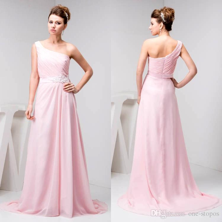 2018 Pink One Shoulder Pleats Chiffon Bridesmaid Dresses for Wedding Beach Party Evening Gowns Sweep Train WD4-1143
