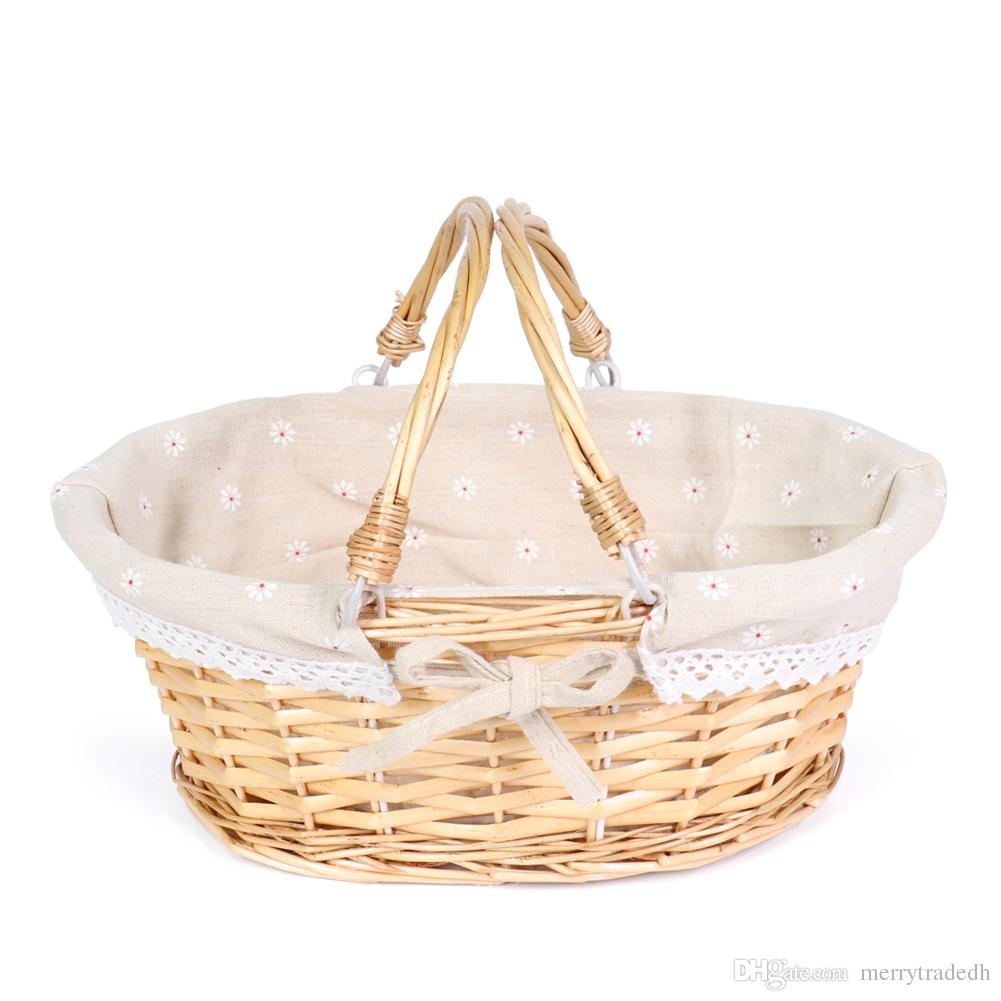2019 Meiem Easter Baskets Gift Basket Oval Willow Basket With Double