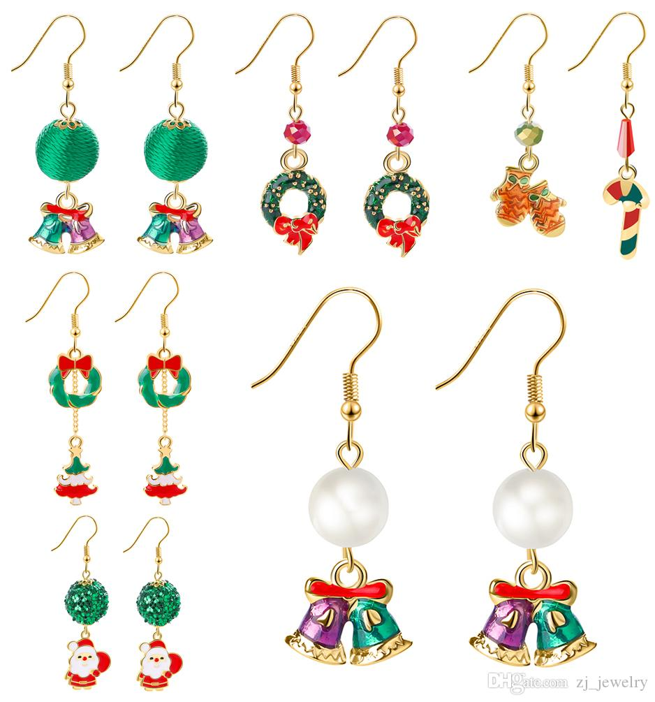 Christmas Jewelry.Christmas Jewelry Creative New 3d Santa Christmas Bell Elk Snowman Ear Studs Christmas Series Crystal Earrings New Year Gift 2018