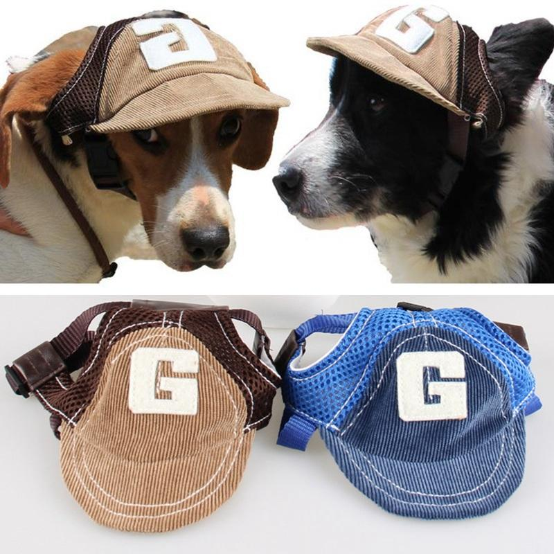 Fashion Small Pet Dog Cat Baseball Visor Sports Hat Cap Puppy Summer Baseball Outdoor Ear Holes Sunbonnet Outfit Elastic Neck Strap