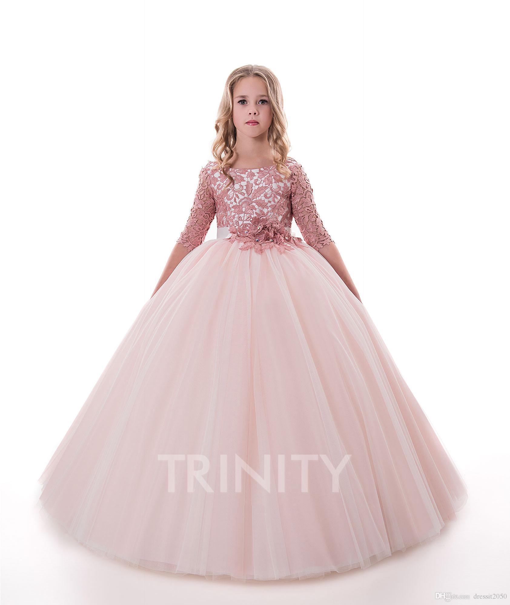 68267c04390d Lovely Pink Lace Tulle Sleeves Applique Flower Girl Dresses Girls' Pageant Dresses  Holidays/Birthday Dress/Skirt Custom Size 2 14 DF720493 Evening Dresses ...