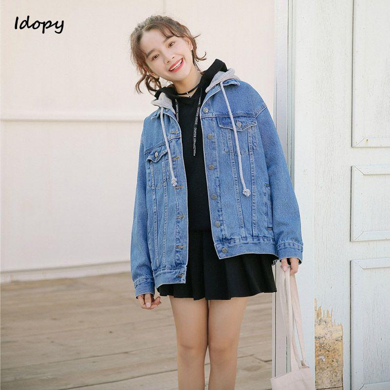 ba4ef215861a2 Compre Idopy Spring Autumn Oversized Jeans Chaqueta Mujer Suelto Con  Capucha Jean Chaqueta Abrigo Mujer Ripped Black Blue Boyfriend Denim  Chaquetas A  45.94 ...
