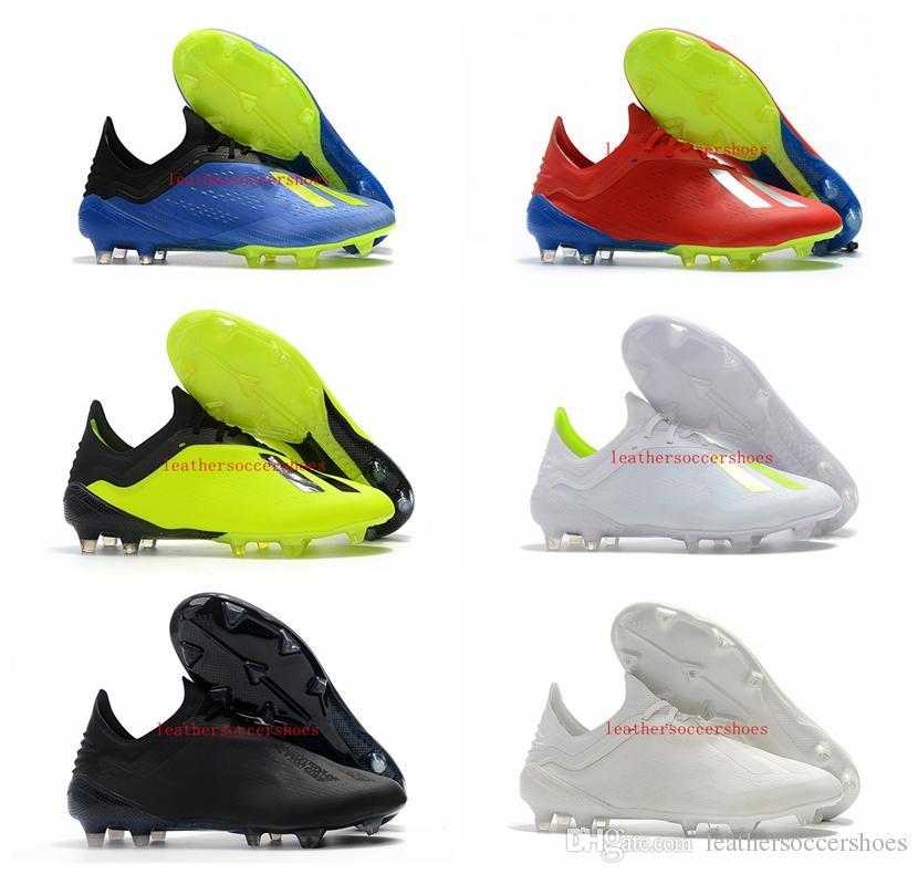 9b14576606c Acheter 2018 Bas De Football Pour Hommes Cheville Crampons X 18 Chaussures  De Football Pour Hommes En Cuir X 18.1 Fg Chaussures De Football En Plein  Air ...