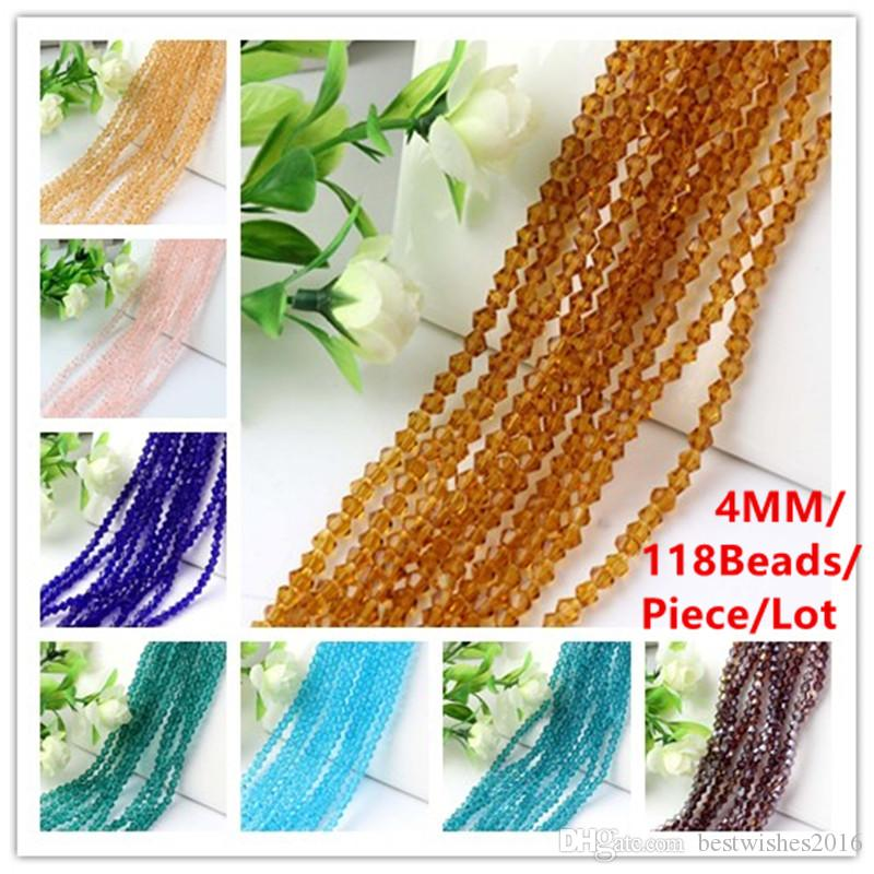 118Beads/Piece4MM Bicone Crystal Spacer Beads DIY Jewelry Accessories Blue/Lake Blue/Peacock Blue/Coffee/Shampagne/Pink/Violet/Orange