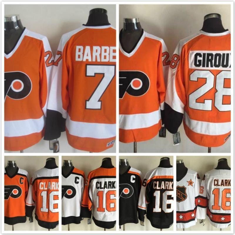 1312356a3 purchase philadelphia flyers 7 bill barber 16 bobby clarke 28 claude giroux  white orange ice hockey