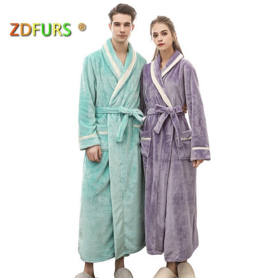 054020a453 2019 ZDFURS  Men Women Luxury Winter Bathrobe Mens Warm Flannel Long ...
