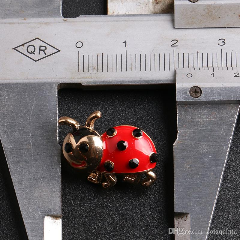 Vintage Ladybug Brooch Pins With Red Crystals Gold Broche Brooches Backpack Blouse Clip Pullover Pins Up