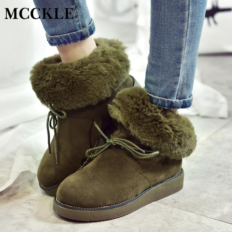 4fdf71652 MCCKLE Women Winter Short Plush Platfrom Flat Warm Snow Boots Ladies  Fashionable Female Suede Bowtie Sewing Ankle Boots Peep Toe Booties Cat  Boots From ...