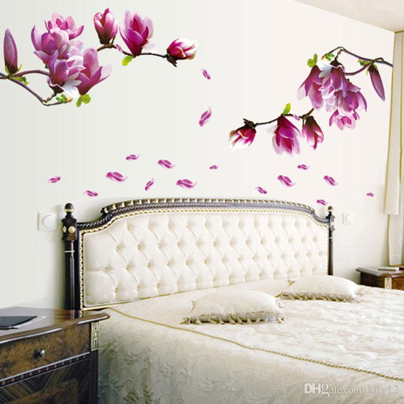 Wholesale Exquisite Fashion Magnolia Flowers Removable Art Vinyl Mural Home Room Decor Wall Stickers Backdrop TV