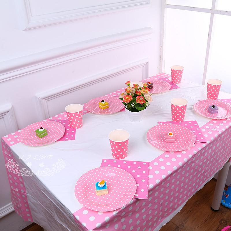 180 108cm 70 42 Inch Plastic Table Cloth Polka Dot Cover Waterproof Disposable Tablecloth Birthday Party Wedding Home Vinyl Tablecloths