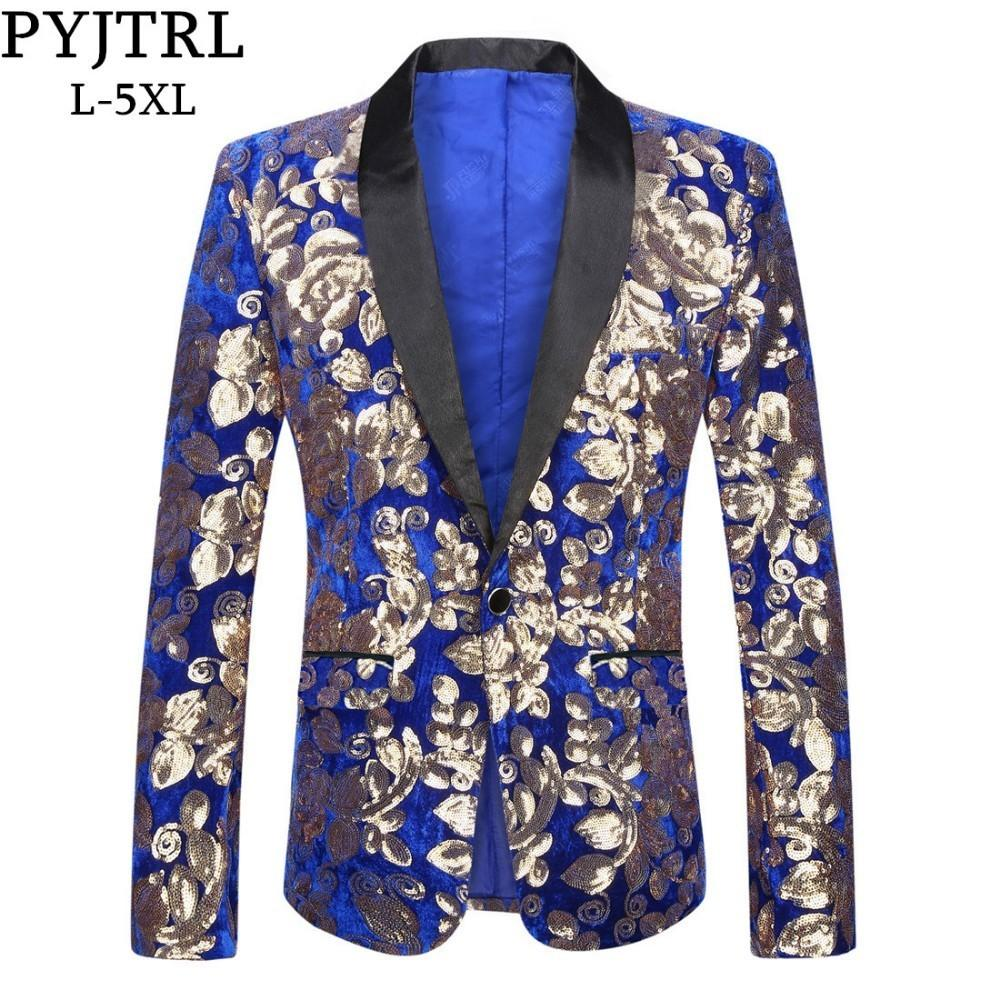 PYJTRL Scialle alla moda da uomo con risvolto Giacca da abbigliamento in velluto blu royal Plus Size 5XL Giacca da sposa con paillettes floreale all'americana DJ Singer