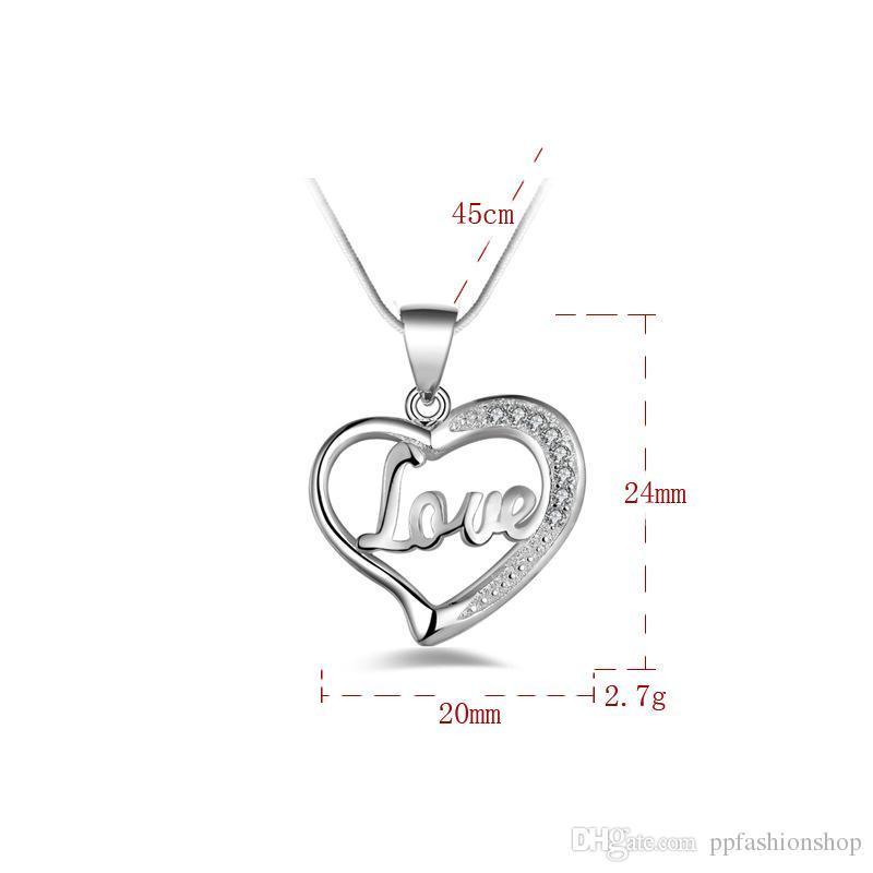 Ciondolo gioielli in argento Fine LOVE catena clavicola a forma di cuore 925 gioielli in argento placcato collana pendenti collana regalo di moda Top Quality