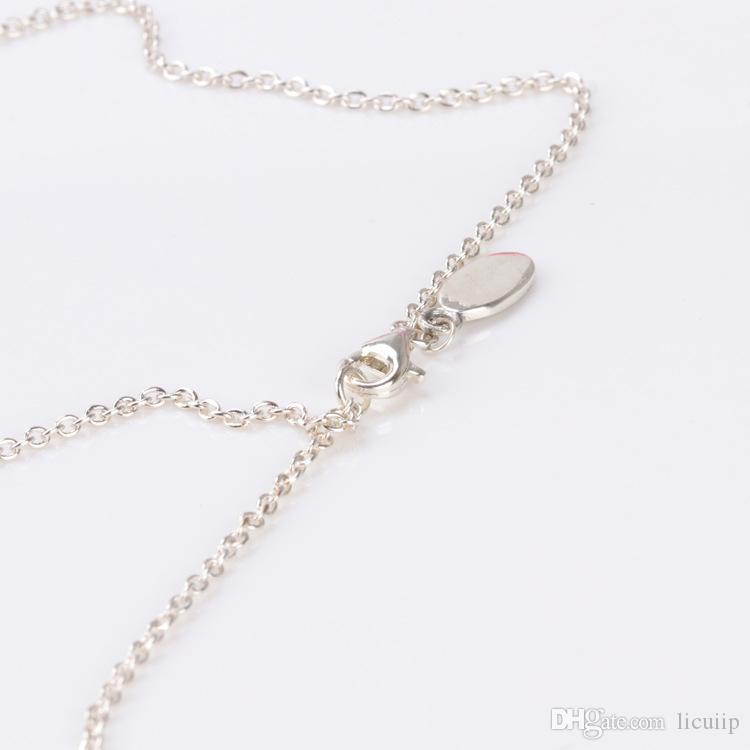 الجملة إمرأة 60 سنتيمتر s925 فضة سلسلة قلادة الأصلي صالح باندورا مجوهرات سحر المعلقات مجوهرات للنساء