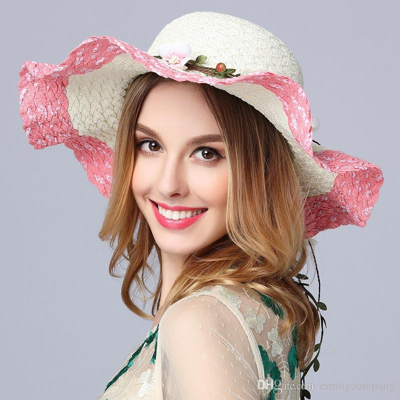 Designer Ladies Elegant Big Flower Straw Beach Hats With A Bow Women ... d6813ba70a93