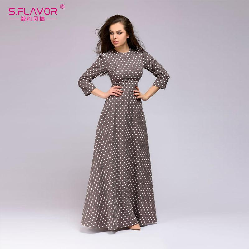6ba7c165c80df S.FLAVOR wave point long dress Women vintage style O-neck three quarter  sleeve Elegant vestidos autumn winter casual dressY1882302