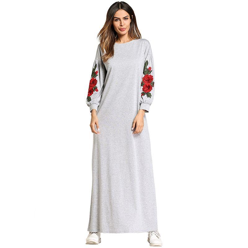 2640e9d9ff983 Muslim Abaya Embroidery Maxi Dress Cotton Kimono Flower Long Robe Gowns  Loose Style Jubah Ramadan Middle East Islamic Clothing