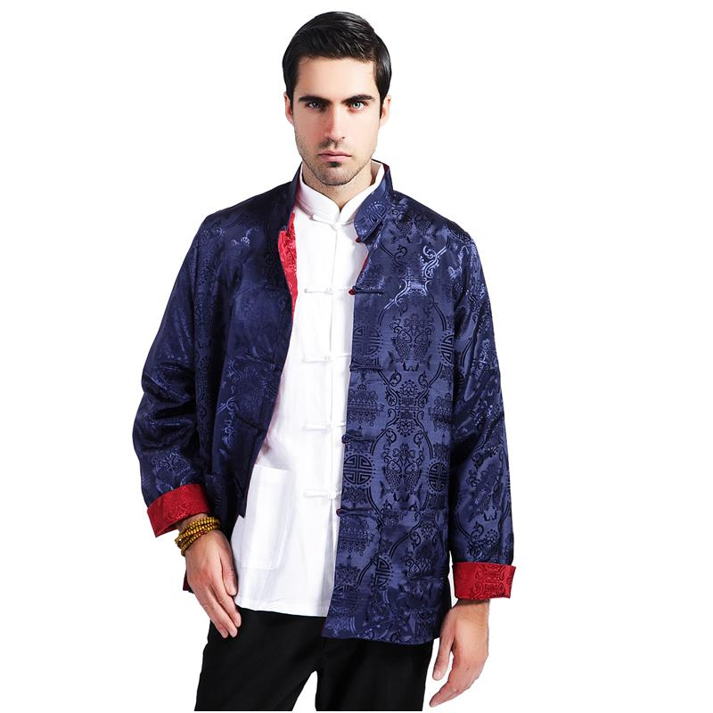 Blue Red Silk Satin Reversible Kung Fu Jacket Chinese Style Two Sided Coat National Trends Tang Suit Size M L XL XXL XXXL MS119