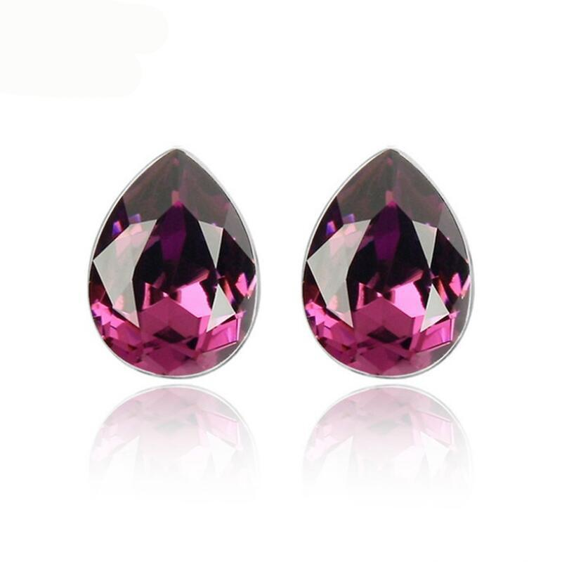 Small 0.8 cm Waterdrop Stud Earrings Made With Crystals From Swarovski 5 Colors For Women Gift Brand Free Shipping