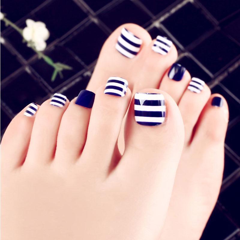 24pcs/Set Summer Blue White Stripe Toes Nail Art Tips Pre,design Full Cover  Beach Women Foot Nail Tool Artificial False Nails