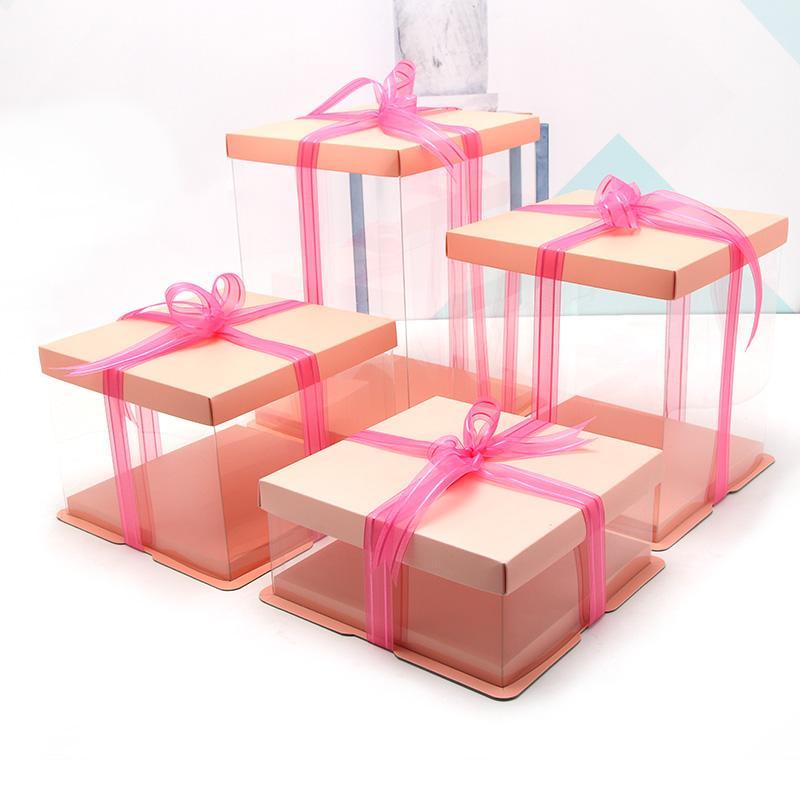 5 adet Doğum Günü partisi kek gaine hediye çanta Yüksek Kaliteli Kek Kutusu Basit Şeffaf Hediye Kutusu 4-12 inç büyük boy kek kutusu ücretsiz kargo