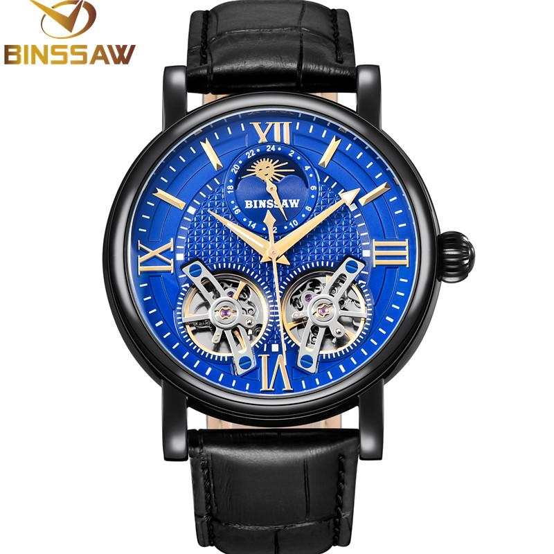 160e214a9cb8 Compre BINSSAW Hombres Reloj Mecánico Automático Doble Acero Moda Lujo  Marca Cuero Negocios Relojes Relogio Masculino A  446.0 Del Playnice