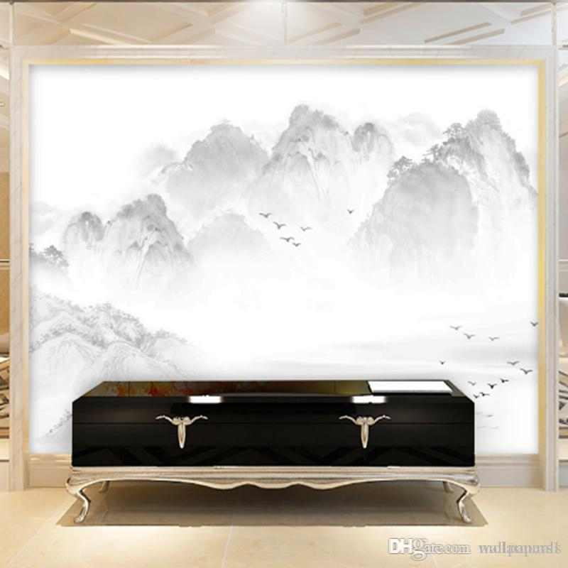 Custom Wallpaper Large Wall Murals Chinese Ink Painting Style