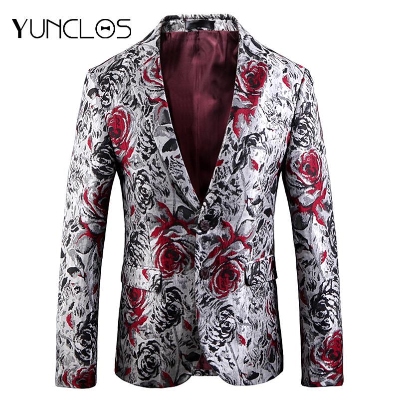 Compre YUNCLOS 2018 Rose Jacquard Hombres Blazer Slim Fit Chaqueta De Traje  De Boda Chaquetas Chaquetas De Alta Calidad Americana Hombr A  78.18 Del ... 1ac9cca8357