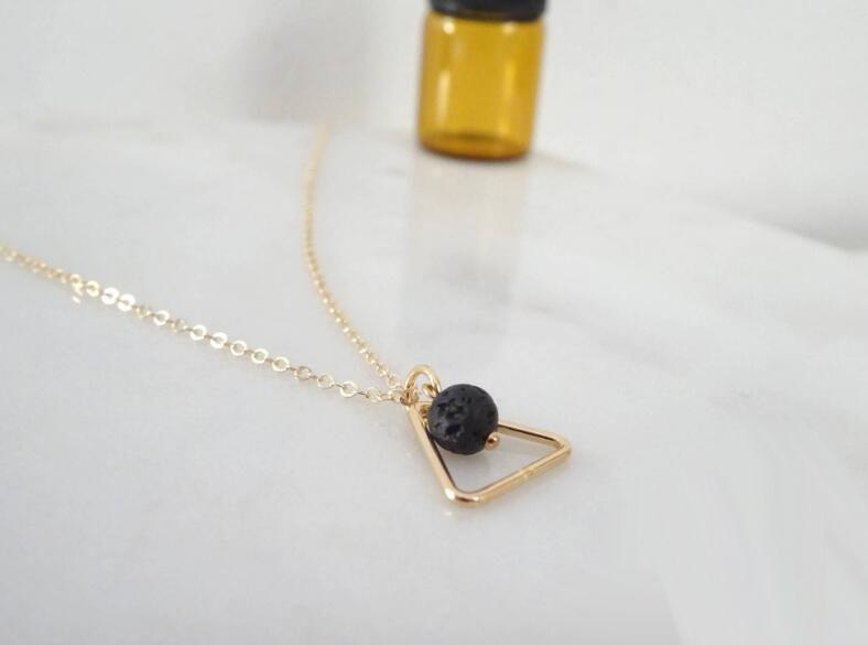 New Lava-rock Bead Pendant Necklaces Aromatherapy Essential Oil Diffuser Necklaces Women Fashion Natural Black Lava Yoga Jewelry