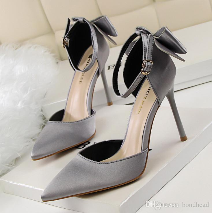 Korean beauty sweet shoes with high heels and shallow sharp pointed Satin hollow bow with sandals shoes