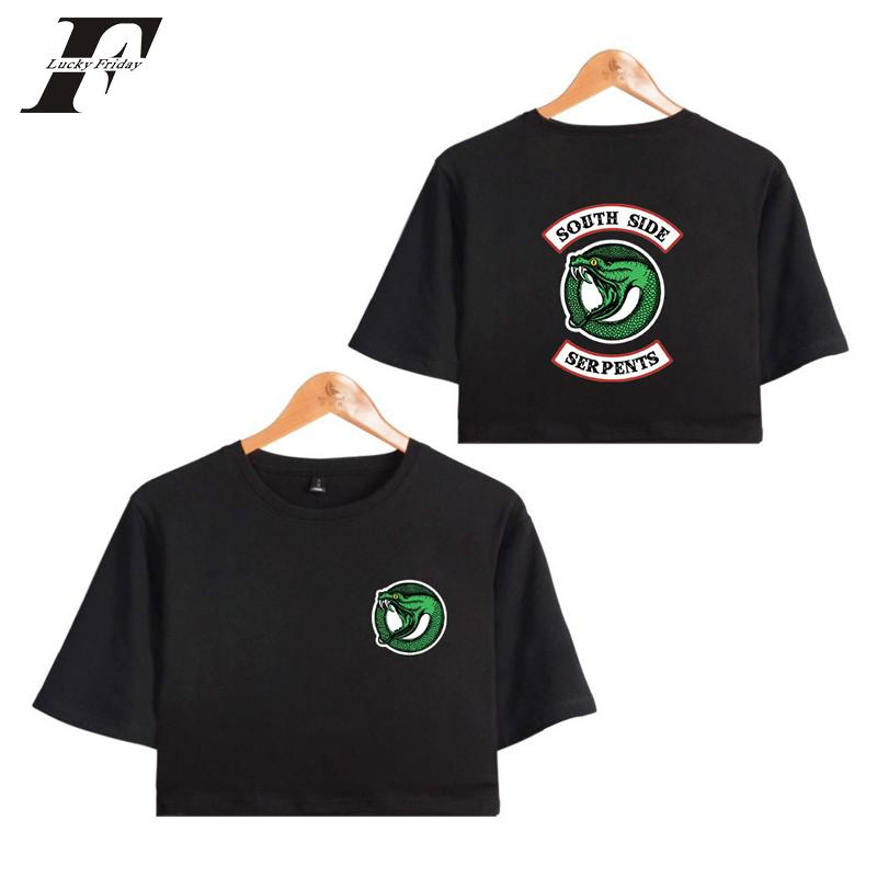 31dfc65a548c9f Riverdale 2018 Summer Crop Top Women Sexy Bare Midriff Tee Tops T Shirts  Sexy Short Sleeve Riverdale South Side Serpent T Shirts Mens T Shirt Cool  Tshirt ...