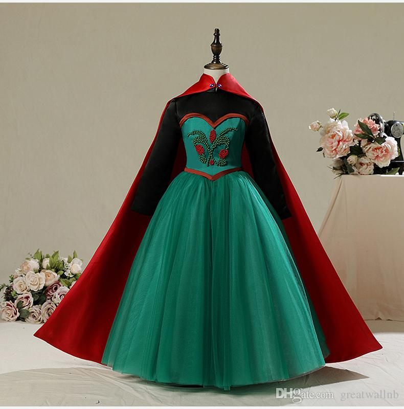 Free Ship Children\'S Girls Luxury Beading Medieval Dress With Cape ...