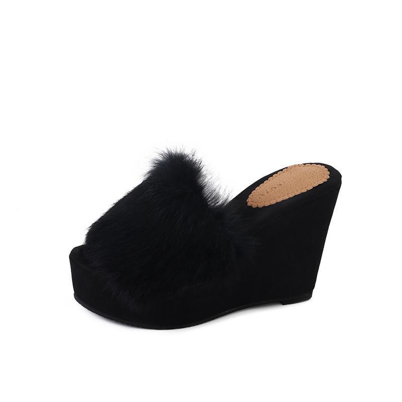 caf4cedc72078 Aphixta High Heel Platform Women Slipper Black Autumn Chaussure Wedge  Elegant Women Slippers Clogs Outside Slides Summer Shoes