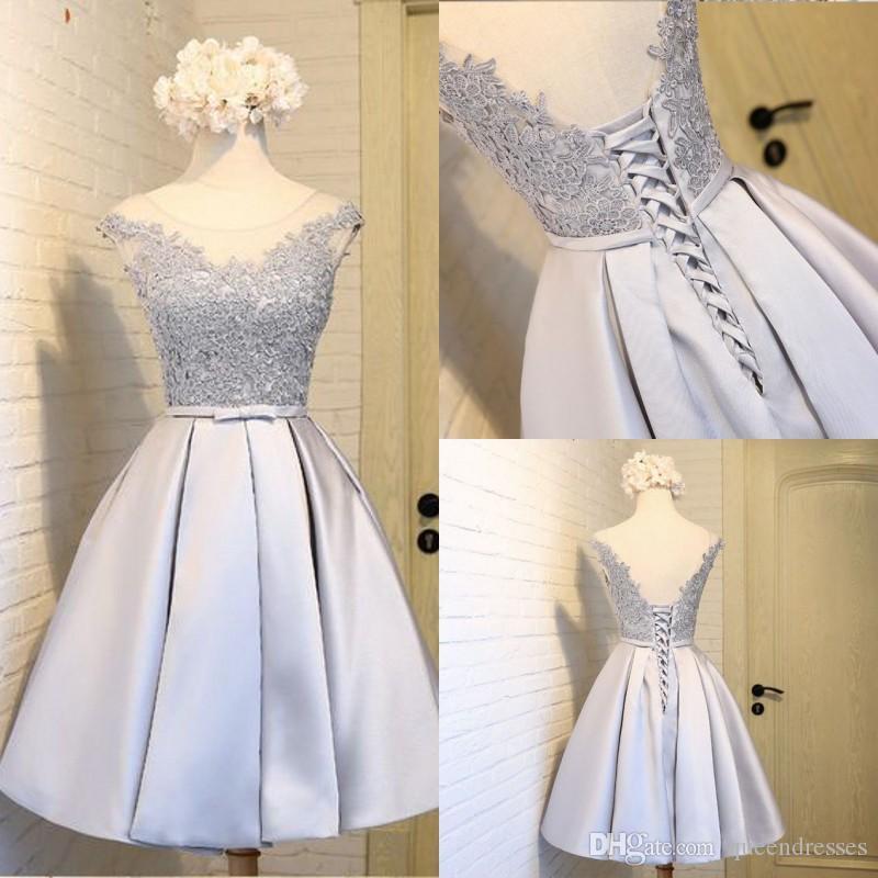 6818debee0 ... De Prata Baratos Curto Com Laço Uma Linha De Tafetá Mini Vestidos De  Baile Formal Meninas Doce 16 Ocasião Especial De Festa Vestidos  Personalizados