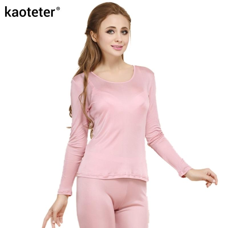 46ea2fec30 2019 100% Real Silk Women S Long Johns Set Ladies Warm Clothing Femme Thermal  Underwear Sets Female Body Suits Women Long Johns D18110503 From Xiao0002