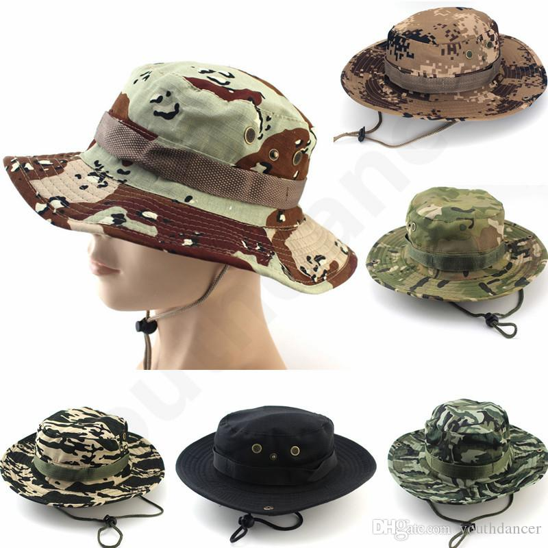 c64105d2cd0 2019 Outdoor Camouflage Tactical Boonie Hat Army Green Fisherman Sun Cap  Multi Color Hunting Jungle Hat For Hiking Camping Fishing Hunting From  Youthdancer
