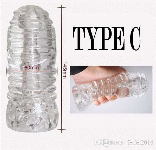 Transparent Silicone Male Masturbator 4 Type Penis Trainer Sex Products Pocket Pussy Stroker Stretchy Masturbation Cup Sex Toys
