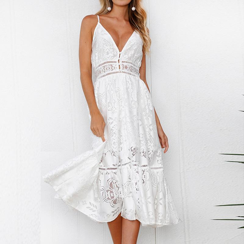 6b78a5f89452 Sundress 2018 Summer White Lace Dress Women Sexy Dress V Neck Crochet  Hollow Out Spaghetti Strap Tunic Beach Dress Black Party Dress Designer  Cocktail ...