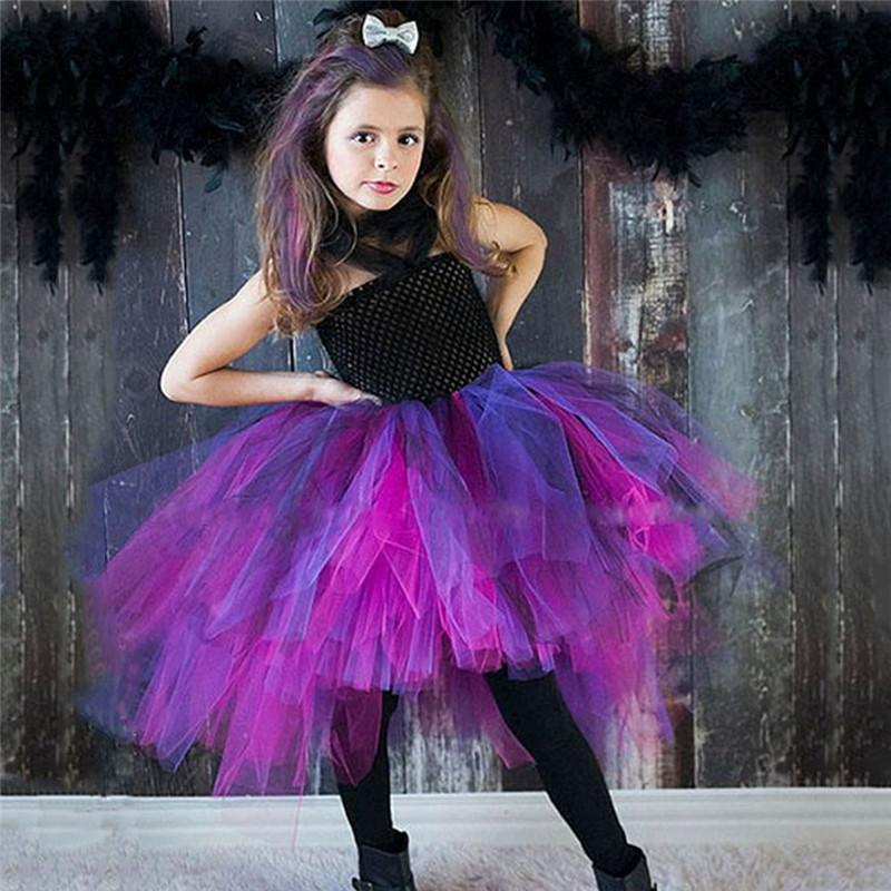 a6221b7aea9495 New Design Purple Black Girls Witch Tutu Dress Handmade Dress Tulle  Halloween Costume Carnival Cosplay Party Photo 2-9y