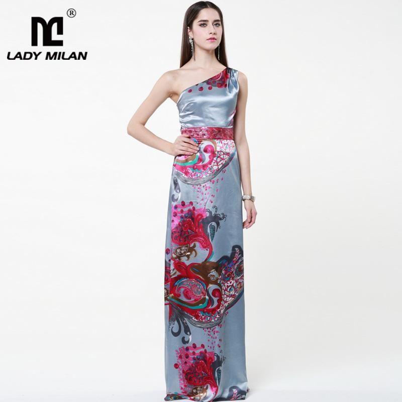 47da96f92b444 Lady Milan 2018 Women s Sexy One Shoulder Sleeveless Floral Printed ...