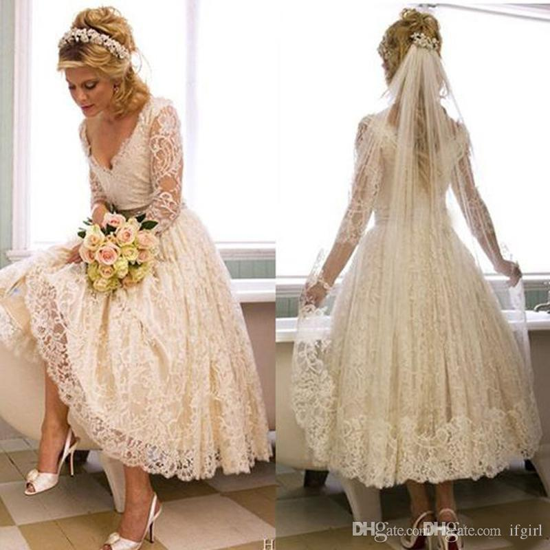 compre vestidos de novia con cuello en v de encaje vintage de los