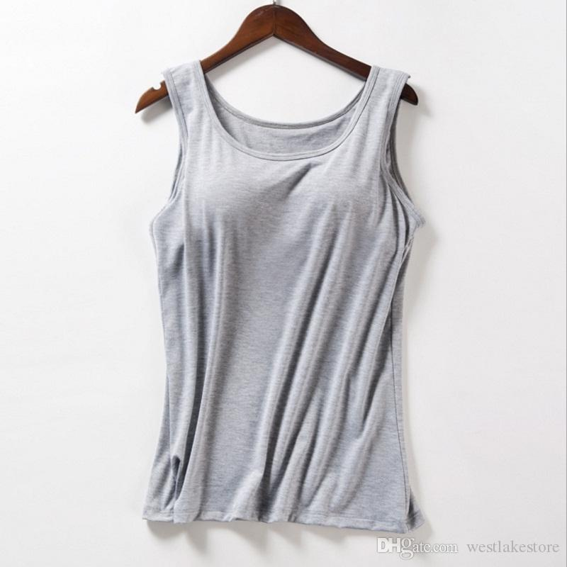 6e17ffd15e414 2019 Women Built In Bra Padded Tank Top Modal Breathable Summer Fitness  Tops Push Up Bra Vest Camisole Solid Casual Basic Shirt From Westlakestore