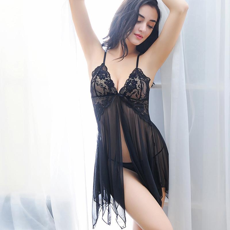 66e52c2546 2018 New Lace Nightwear Women Night Dress Sexy Lingerie V Neck Sleeveless  Sleepwear Nighties Mini Nightgown Sleeping Dress S923 Pure Silk Nightwear  Pyjamas ...
