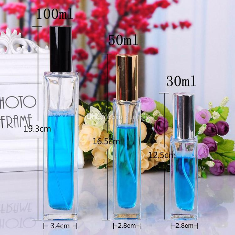 High Square Glass Clear Empty Glass Perfume Spray Bottle 100 Ml