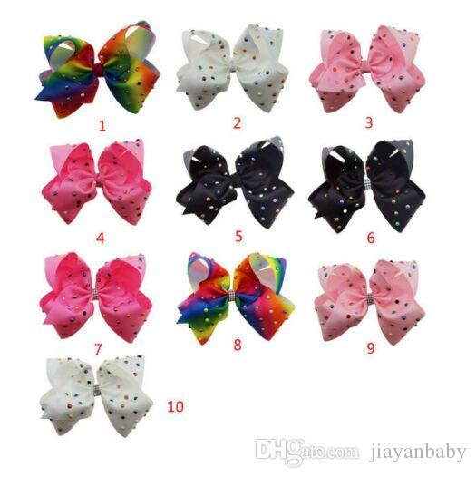8 Inch Rhinestone Hair Bow Jojo Bows With Clip For School Baby Children Large Sequin Rainbow Bow 8 Styles For valentines
